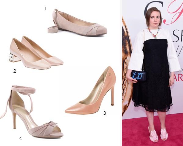 A atriz Lena Dunham, durante o CFDA, escolheu sapatos de pelúcia (Foto: Getty Images/Divulgação)