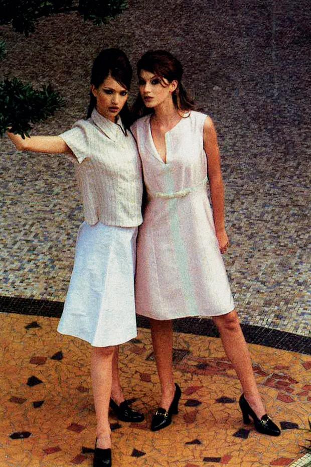 Com Gisele Bündchen em um editorial da Vogue em 1995 (Foto: Arquivo Vogue)